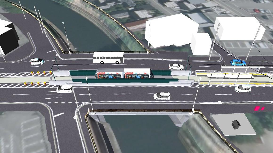 完成予想図(鳥瞰):富山市 八田橋の橋梁掛替